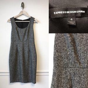 EXPRESS | Grey Tweed Fitted Wool Jumper Dress 4